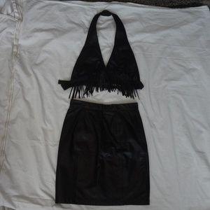 Wilsons Leather Black Halter Top W/ Fringe & Skirt